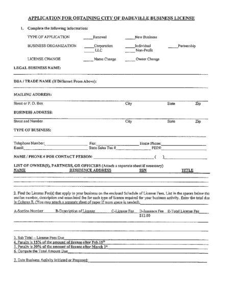 Business License Application – City of Dadeville Alabama
