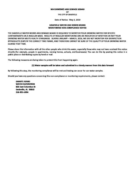 NON COMPLIANCE LETTER DADEVILLE RECORD 5 9 2019 – City of